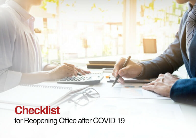 Checklist For Reopening Office After COVID 19